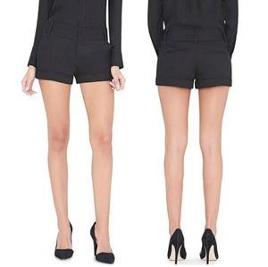 Alice + Olivia Black Cady Cuff Shorts Size 6